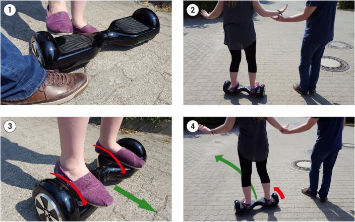 Hoverboard - Hilfestellung und Aufsteigen